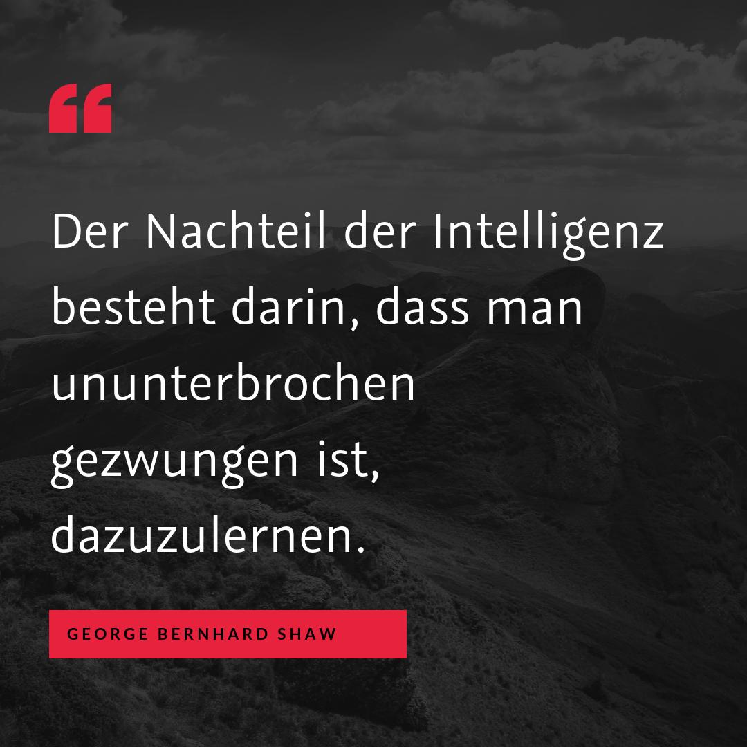 """Unwissenheit vs. Lernen - """"Der Nachteil der Intelligenz besteht darin, dass man ununterbrochen gezwungen ist, dazuzulernen."""" (George Bernhard Shaw)"""