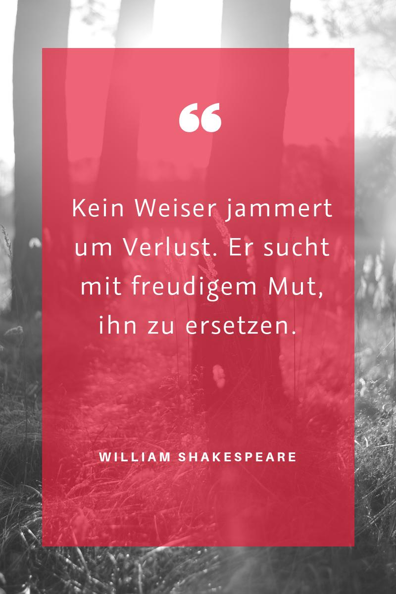 """Jammern - """"Kein Weiser jammert um Verlust. Er sucht mit freudigem Mut, ihn zu ersetzen."""" (William Shakespeare)"""