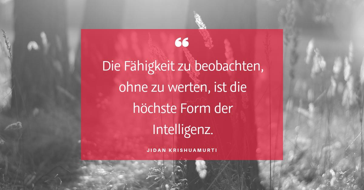 """Ziele und Bewertungen - """"Die Fähigkeit zu beobachten, ohne zu werten, ist die höchste Form der Intelligenz."""" (Jidan Krishuamurti)"""