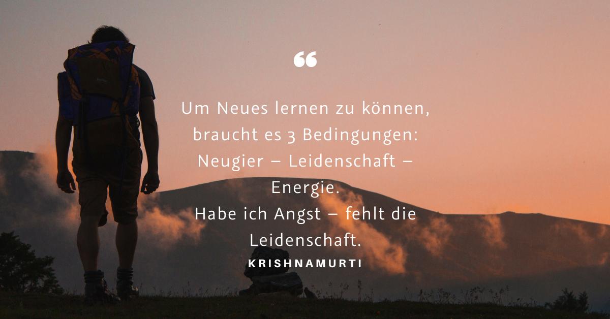"""Neues lernen - """"Um Neues lernen zu können, braucht es 3 Bedingungen: Neugier – Leidenschaft – Energie. Habe ich Angst – fehlt die Leidenschaft."""" (Krishnamurti)"""