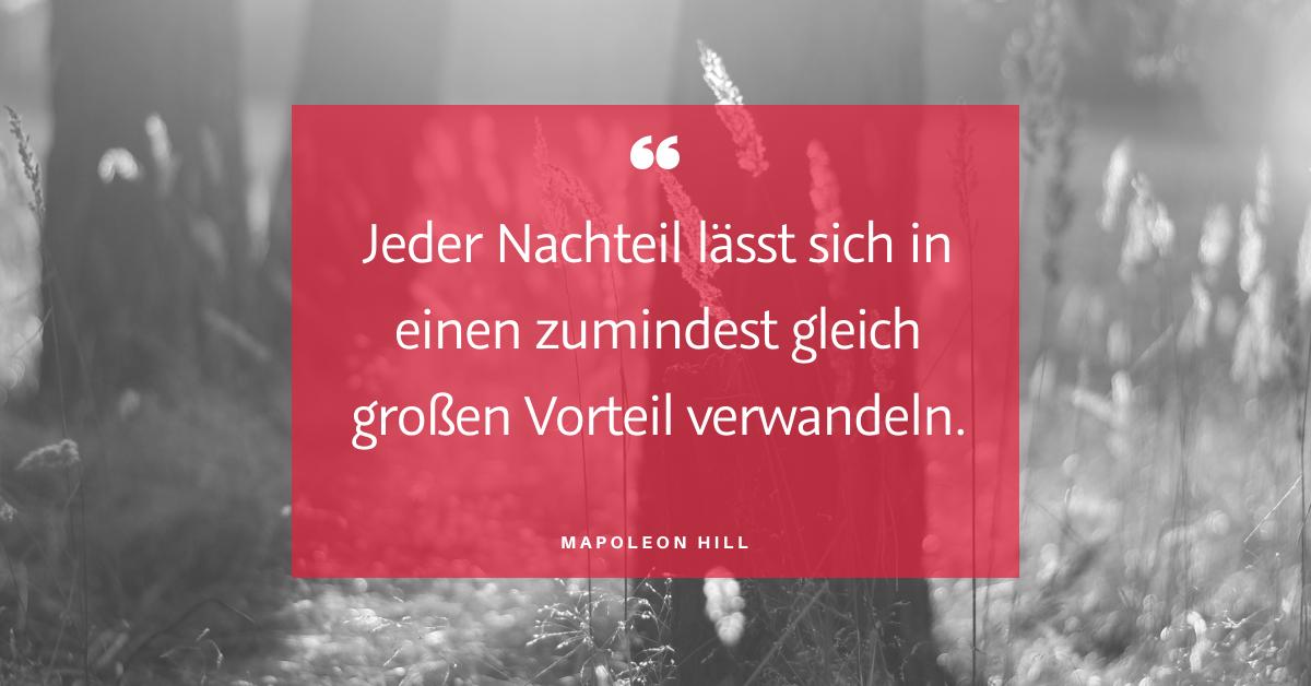 """Nachteile - und Vorteile - """"Jeder Nachteil lässt sich in einen zumindest gleich großen Vorteil verwandeln."""" (Napoleon Hill)"""